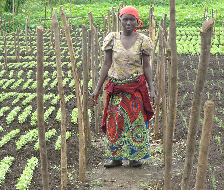 37-year-old Congolese woman stands in her ActionAid-funded garden next to aubergine seedlings in North Kivu province, in the Democratic Republic of Congo