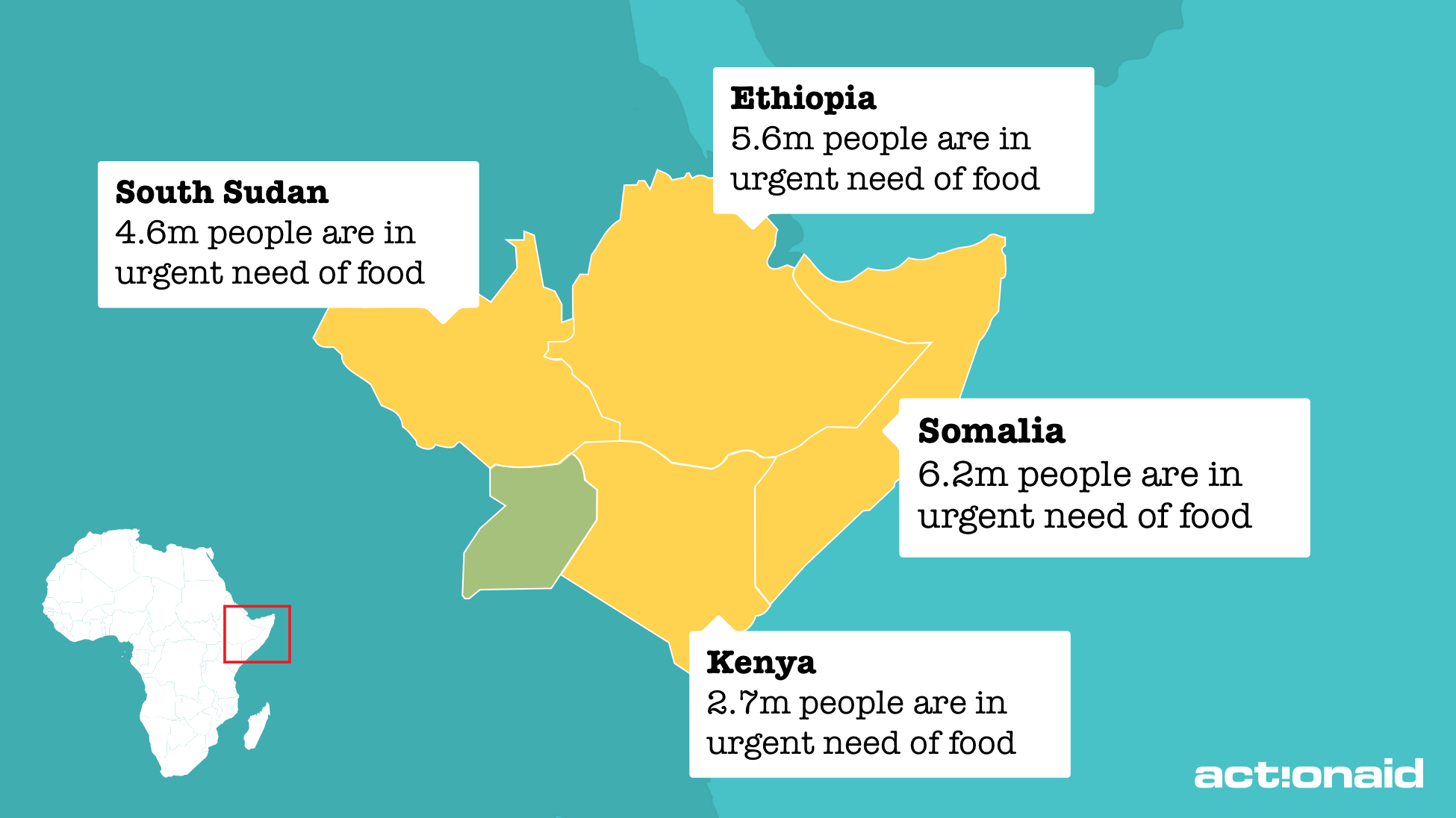 Map of the East Africa crisis across Somalia, Kenya, Ethiopia and South Sudan