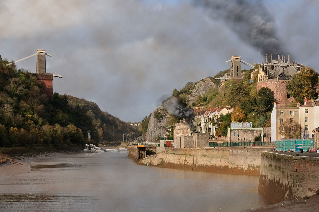 What Bristol's Clifden suspension bridge might look like after being bombed