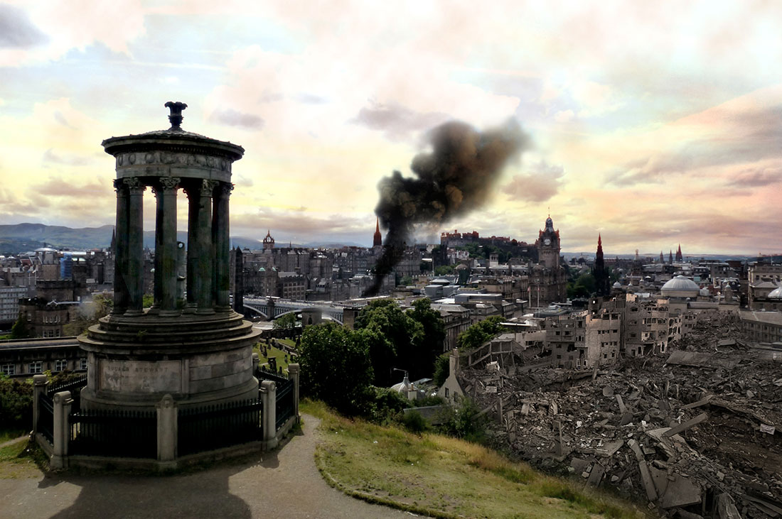 What Edinburgh city centre might look like after being bombed