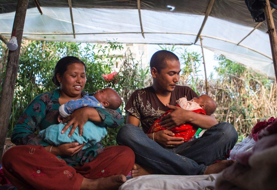 Nine-month-old twins Ujwal and Prajwal survived the earthquake.