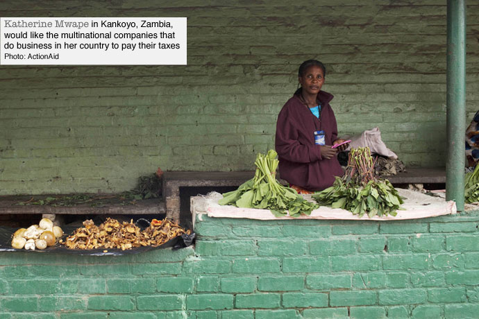 A market trader in Zambia where multinationals are dodging taxes